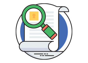 Illustration of magnifying glass over a piece of paper focusing on a lock icon