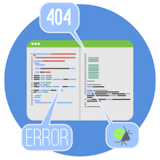 Image of a web page with two columns and each column has lines to illustrate text. Three comments are pointing to various sections and are labelled 404, Error and the last one is a little bug to represent a web crawler. Overall illustrating on-page optimization