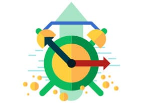 Icon of a clock with an arrow going up in the background to illustrate site speed optimization