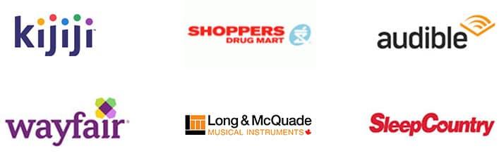 Enterprise Client Logos: Kijiji, Shoppers Drug Mart, Audible, wayfair, Long & McQuade, SleepCountry