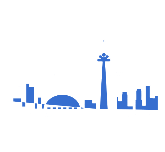 Illustration of Toronto skyline in blue