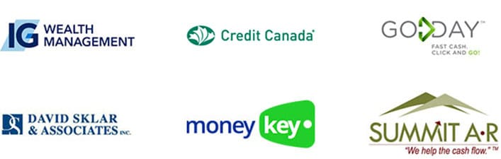 Image of a Financial client's logos: Investors Group, Credit Canada, GoDay, David Sklar, MoneyKey, Summit Collects