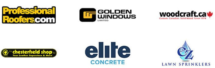 Home Client Logos: Professional Roofers, Golden Windows, Woodcraft, The Chesterfield Shop, Elite Concrete, EZ Lawn Sprinklers
