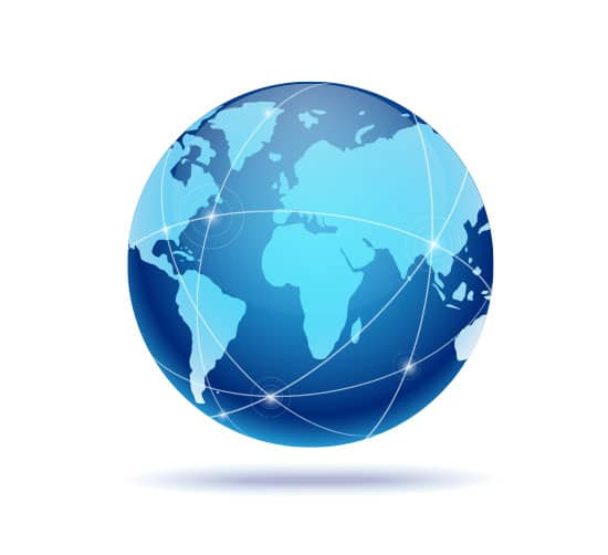 Image of a globe with various connections to illustrate International SEO Services