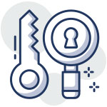Icon of a key and a magnifying glass with a keyhole in the middle to illustrate keyword research