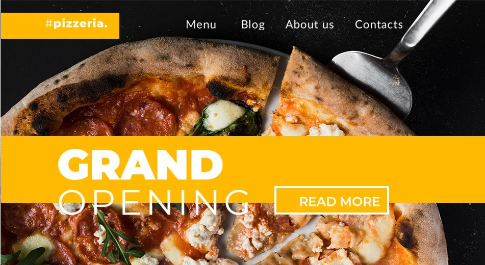 "Image of a landing page hero image with text saying ""Grand Opening"" and in the background is a pizza."