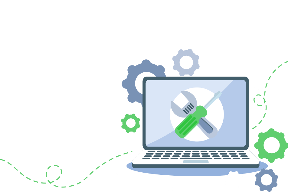 Image of a laptop and on the screen is a wrench and screwdriver. Around the laptop are gear icons and a lined path - all this to illustrate Manual Audits