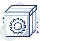 Image of a box with gear icon on it to illustrate on-page optimization package