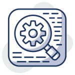 Icon of a web page with lines to illustrate text. A big magnifying glass takes up most of the page with a gear icon in focus to illustrate on page optimization