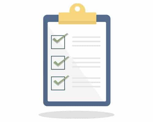 Image of a clipboard with a piece of paper. On the piece of paper are three sections each one with a check mark and beside are lines to illustrate text to show our SEO Blog Content checklist