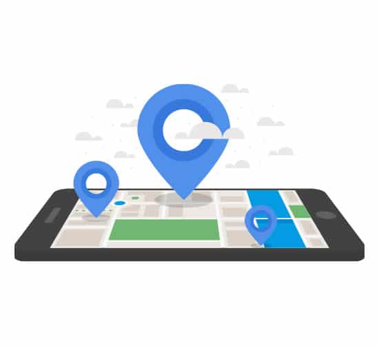 Image of a phone lying flat with map open. Various markers stick out with clouds surrounding them to illustrate Local SEO services