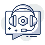 Icon of a comment with headphone over it to illustrate SEO support