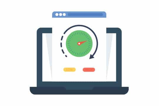"Image of laptop with web page sticking out. On the page is a dial with an arrow going around it and under are two buttons labelled ""Low"" and ""High"" to represent site speed."