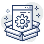 Icon of a box with a web page sticking out. In the middle of the web page resides a gear icon to illustrate technical site audits