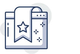 Icon of a bookmark over a web page to illustrate user friendly website